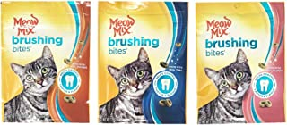 Meow Mix Brushing Bites Cat Treats Variety Pack Bundle of 3 Flavor Pouches (Chicken, Tuna, Salmon; 2.25 oz Each)