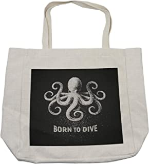 Lunarable Octopus Shopping Bag, Chalk Tentacle Animal on Charcoal Grey Background and Born to Dive Words, Eco-Friendly Reusable Bag for Groceries Beach and More, 15.5