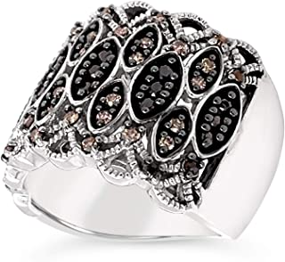 .925 Sterling Silver Chocolate Brown and Black Diamond Wide Band Cocktail Ring For Women 1/2 Carat