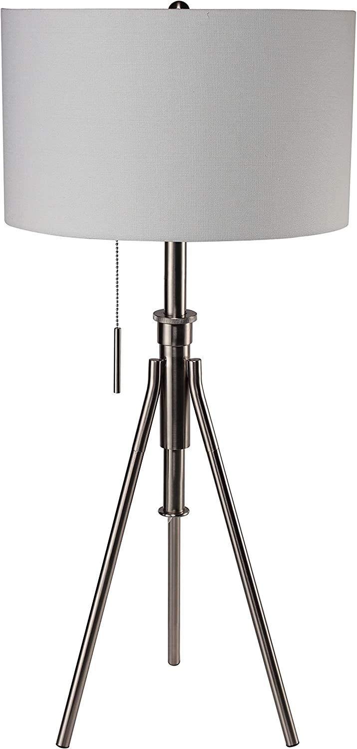 Ore International 31171T-SN Mid-Century 32.5  to 37.5 H Adjustable Tripod Silver Table Lamp, Brushed Silverstone