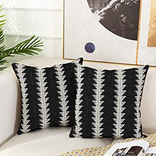 Sungea Black and White Decorative Throw Pillow Covers Set of 2, Boho Modern Tree Pattern Striped Woven Cushion Case for Couch Sofa Bed Home Decor Design (20 x 20 inch, Small Tree)