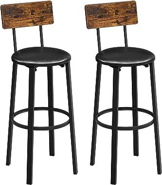 VASAGLE Chaises de Bar, Lot de 2, Tabourets Hauts, Sièges rembourrés, 39 x 39 x 100 cm, Repose-Pieds, Montage Facile, Style I