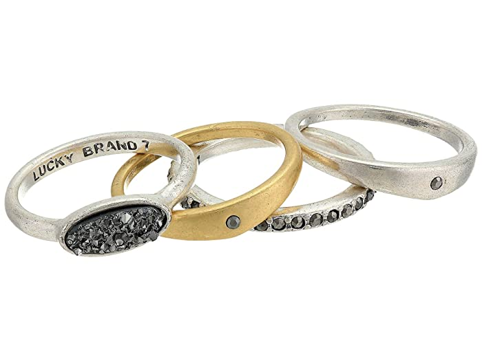 Lucky Brand  Druzy Stack Ring Set (Two-Tone) Ring