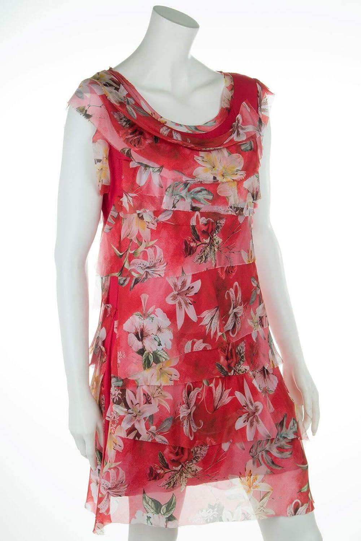 Cara Mia Leichtes Sommerkleid für Damen mit Seide Figurbetont Blumen 9 9