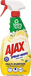 Ajax Spray n' Wipe MultiPurpose Antibacterial Disinfectant Cleaner Trigger Surface Spray Lemon Citrus Made in Australia 500mL