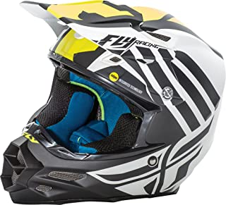 Fly Racing Unisex-Adult Full-face Style F2 Carbon Mips Zoom Helmet (Matte White/Black/Hi-Vis, X-Small)