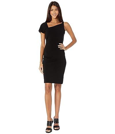 Nicole Miller Heavy Jersey One Shoulder Mini Dress (Black) Women