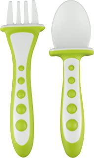 NUK Training Fork and Spoon Set, Assorted - Orange/Green, 9 Months+