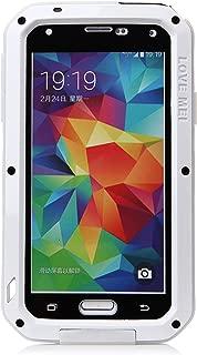 Love Mei Waterproof Shockproof Aluminum Case+Gorilla Glass for Samsung Galaxy S5 White