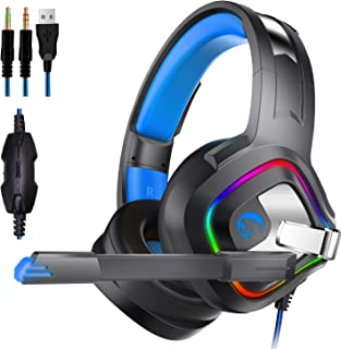 COOL THING Stereo Gaming Headset Noise Cancelling Over Ear Headphones with Dynamic Surrounding Subwoofer Soft Breathing Earmuffs Mute Volume Control for PS4 Xbox One PC
