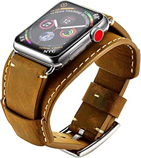 GOSETH Compatible with Apple Watch Band 44mm Series 5/4 Apple watch band 42mm Series 3/2/1,Genuine Leather Strap with Stainless Clasp for iWatch Series 5/4/3/2/1 (Light Brown, 44mm/42mm)