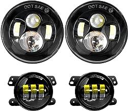 Nilight 7 Inch LED Headlight with 4 Inch LED Fog Light for Jeep Wrangler 1997-2017 JK LJ CJ, pack of 4