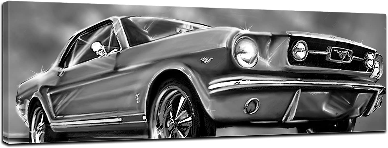 Kunstdruck - Mustang Graphic - schwarz weiß - Bild auf Leinwand - 160x50 cm - Leinwandbilder - Motorisiert - Oldtimer - Klassiker - Amerika B00ZI8IY2U