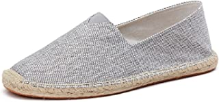 LILY999 Unisex Adults' Espadrilles Slip On Canvas Pumps Espadrille Beach Shoes Casual Flat Loafer