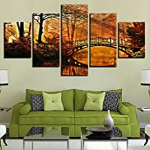 PHWDS Canvas Painting Home Decor Hd Print Tree Poster 5 Pieces Classic Sun Shining Bridge Autumn Landscape Picture Wall Art -8 x 14/18/22inch,Without frame