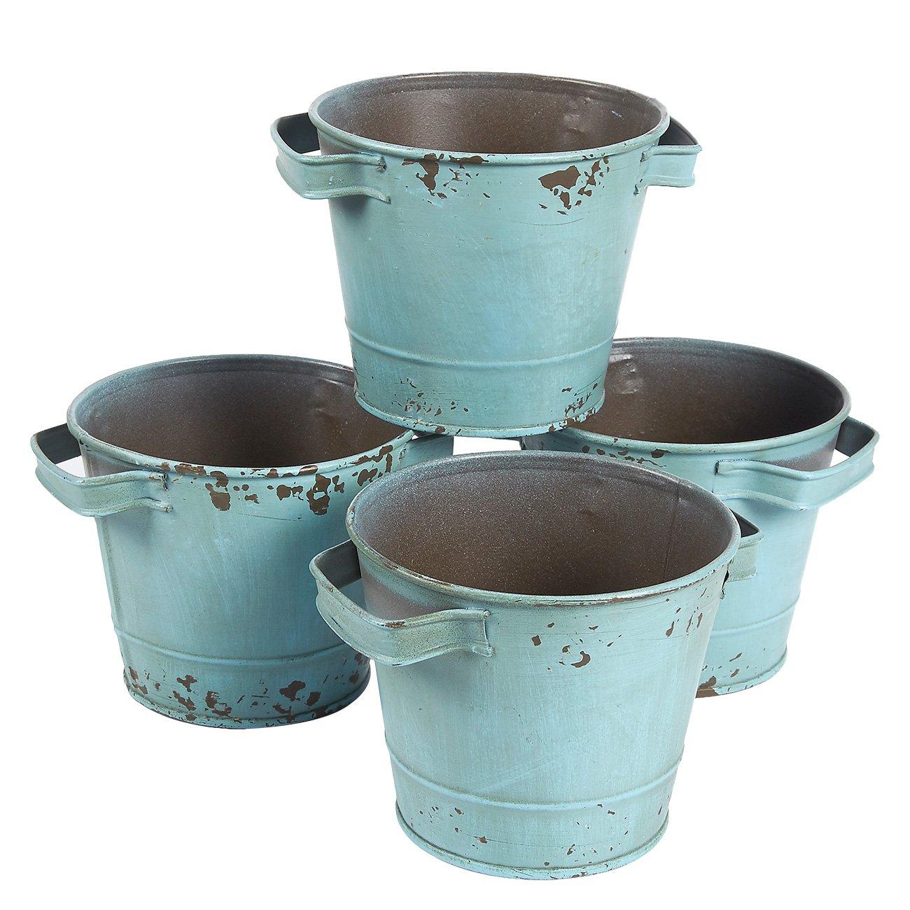 Juego de cubos galvanizados vintage para decoración de jardín (11,9 x 9,4 cm, 4 piezas): Amazon.es: Hogar