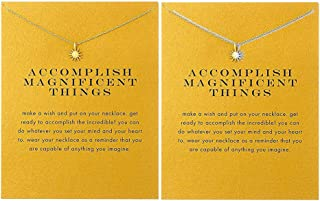 Sun Compass Necklace Friendship Anchor Horseshoe Deathly Hallow Pendant Chain Necklace with Meaning Cards