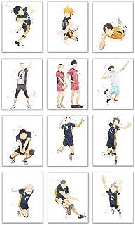 Watercolor Haikyuu!! Prints - Set of 12 (8x10 Inches) Glossy Anime Wall Art Decor - Hinata - Kageyama - Nishinoya - Oikawa...