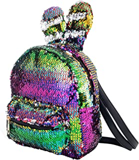Women Girls Fashion Cute Rabbit Ears Backpack Sequins Shoulder Bag Schoolbag Travel Daypack (Colorful & Silver)