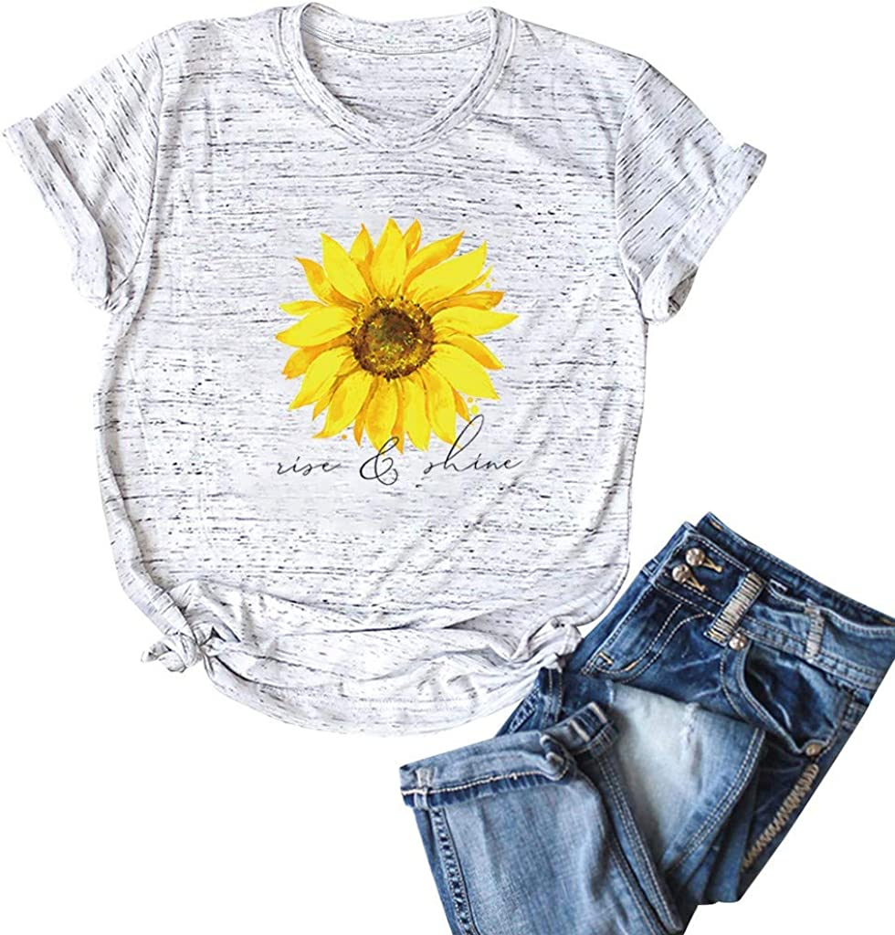 Aukbays Womens Short Sleeve Tops Sunflower Printed Graphic Vintage Tshirt O Neck Pullover Casual Shirts Tees Blouses