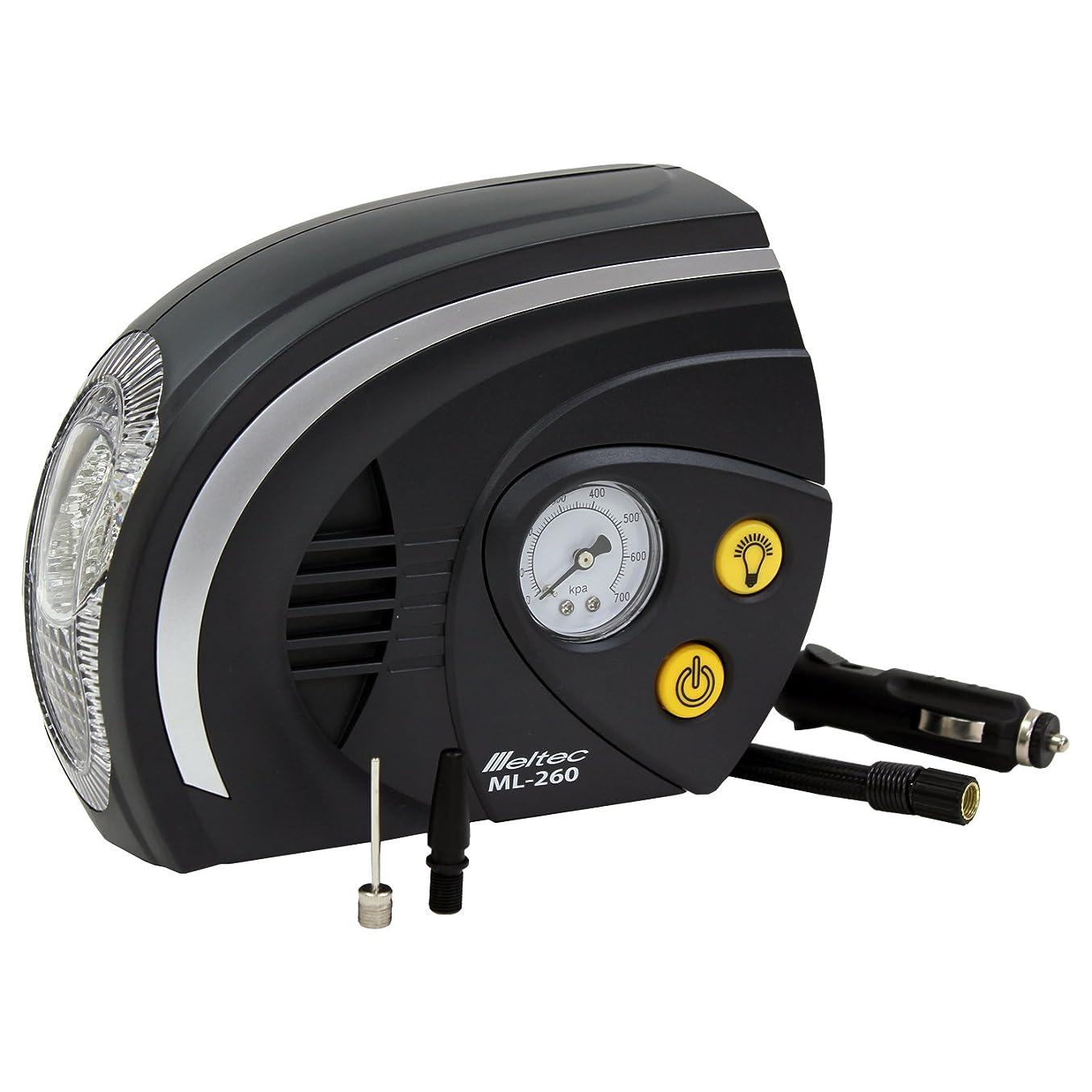 清める作成するジョセフバンクスメルテック エアーコンプレッサー(自動車/バイク/ボール) 最高圧力:700kPa DC12V(ソケット) LEDライト付き Meltec ML-260