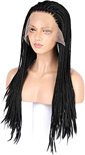 24 Inch Long Lace Front Micro Million African Braided Wigs for Women and Girls (Black), with One Mother of Pearl necklace and One Wig Cap