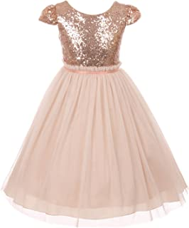 Little Girls Sequin Tulle Cap Sleeve Bridesmaid Party Birthday Flower Girl Dress