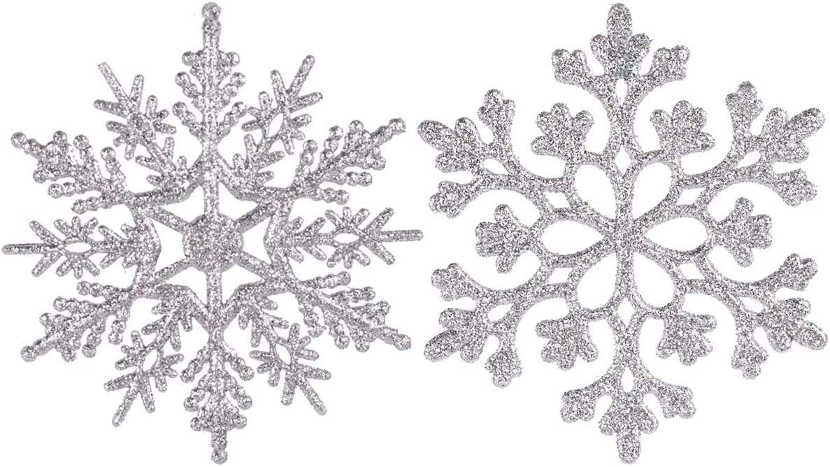 Adeeing 4inch Snowflake Silver Save money Ornaments Glitter Christmas Very popular 36pc