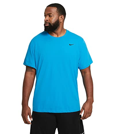 Nike Dry Tee Dri-FIT Cotton Crew Solid (Laser Blue/Black) Men