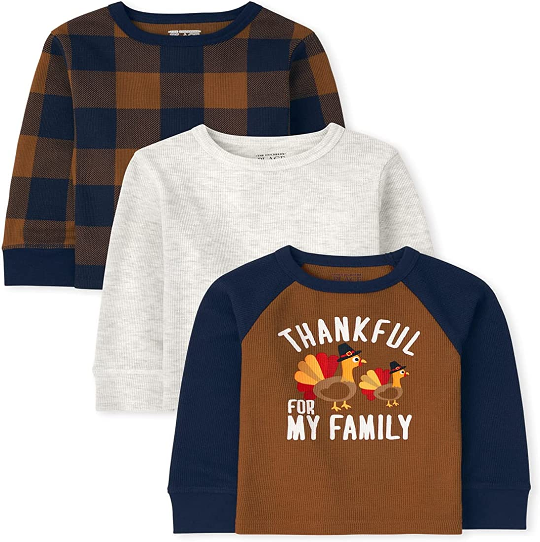 The Children's Place and Toddler Boy Long Sleeve Harvest Thermal Top 3-Pack