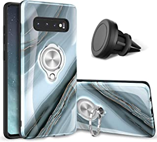 eSamcore Samsung Galaxy S10 Plus Case – Luxury Marble Ring Holder Phone Cases + Vent Car Phone Mount for Samsung Galaxy S10 Plus 2019 [Granite Gray]