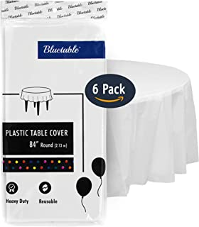 Bluetable Plastic Tablecloths Disposable Tablecovers White - Round (84