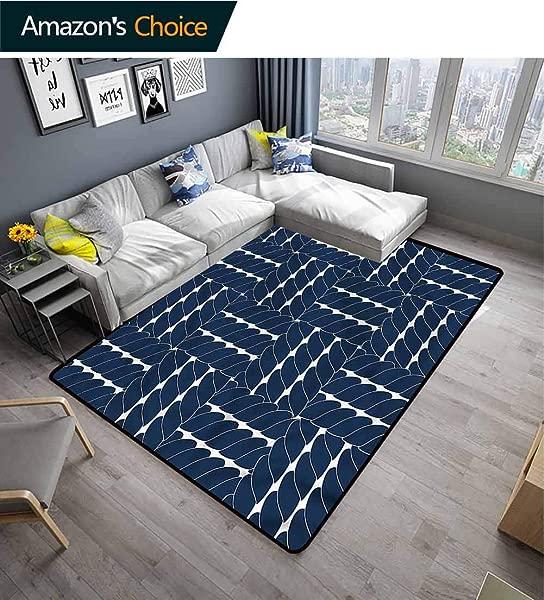 TableCoversHome Navy Blue Solid Area Rug Living Room Lattice Geometric Design Pattern Printing Door Mat Fashionable High Class Living Dinning Room 3 X 5