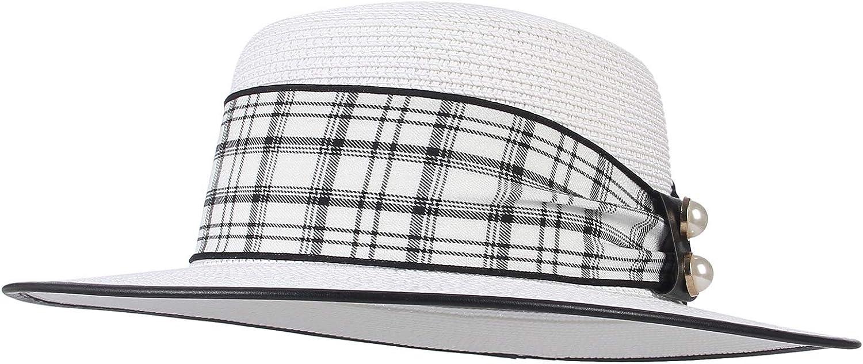 GEMVIE Womens Straw Boater Sun Hat Plaid Pearl Band Flat Top Straw Hat Floppy Fedora Panama Beach Sun Cap