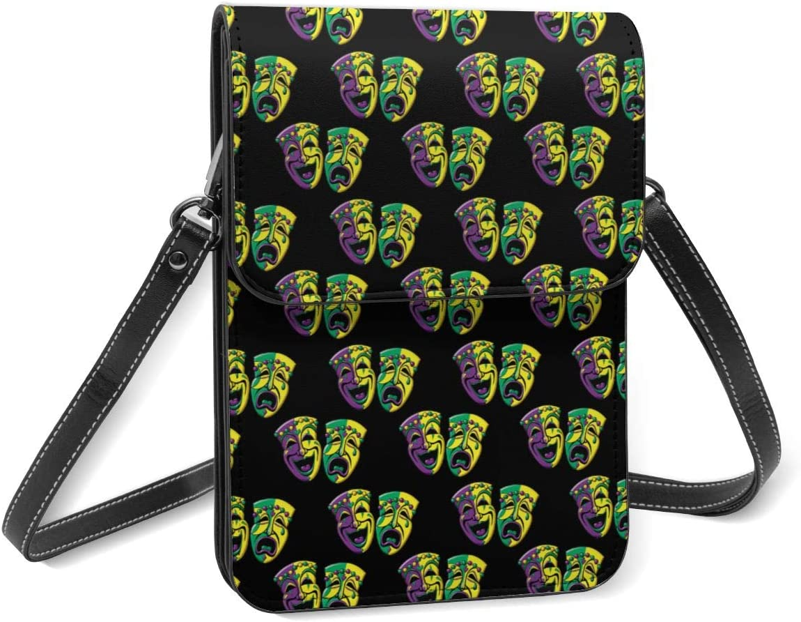 Comedy and Tragedy Masks Women Crossbody Cell Phone Purse Lightweight Leather Shoulder Bag with Adjustable Strap