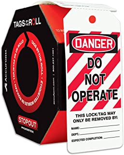 """Accuform Signs TAR125 Tags By-The-Roll Lockout Tags, Legend""""DANGER DO NOT OPERATE"""", 6.25"""" Length x 3"""" Width x 0.010"""" Thickness, PF-Cardstock, Red/Black on White (Roll of 250)"""