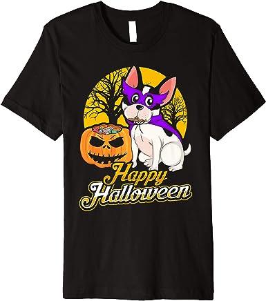 Frenchie Pumpkin T Shirt Scary Halloween