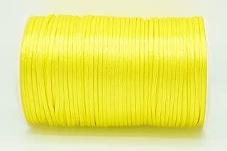 YELLOW 2mm Rattail Satin Cord Shamballa Macrame Beading Nylon Kumihimo String (100yd Spool)