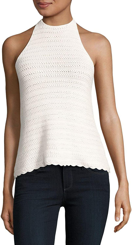 1.STATE Crochet Halter Top White Size Medium