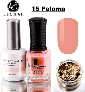 LeChat Perfect Match Gel Polish & Nail Lacquer, Gel Polish with Matching Regular Nail Polish Color (with Nail Glitter Kit) LED & UV Cured Soak Off Nail Formula 2 x 0.5 oz (15 Paloma)