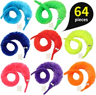 pushang 64pcs Magic Worm Toys, Magic Wiggle Twisty Fuzzy Worm Trick Toy Party Favors (8 Colors)