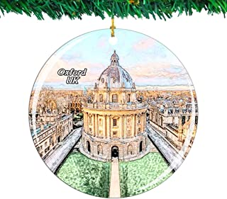 Weekino UK England University of Oxford Christmas Ornament City Travel Souvenir Collection Double Sided Porcelain 2.85 Inch Hanging Tree Decoration