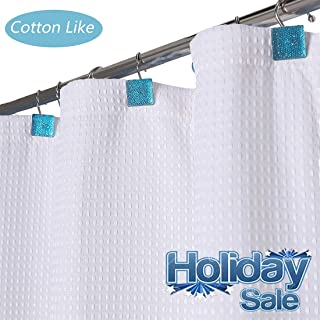 Aniello White Shower Curtain Waffle Weave Fabric Cotton Like 230 GSM for Bathroom,Spa, Water Proof Hookless Cloth Shower Curtains Decorative Bathroom,70