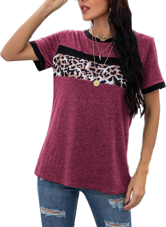 YIJIU Women's Casual Leopard Print Color Block Tops Short Sleeve Round Neck Basic Tee T Shirts