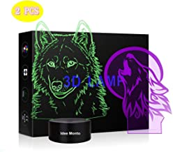 Idee Monto, Wild Wolf 3D Night Light Touch Switch Table Desk Optical Illusion Lamps, 7 Color Wolf Modeling Acrylic Flat Lights Birthday Gift Toys Home Bedroom Bedside Bar Decoration Gift