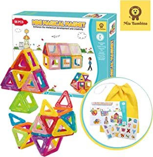 Mia Bambina 56 PCS MiniMagical Magnet I Magnetic Building Blocks | Colourful 3D Magnetic Tiles with Wheels | Educational ...