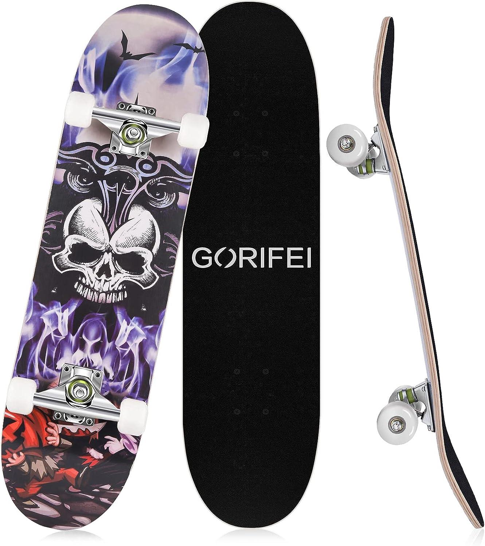 Ranking TOP4 GORIFEI Standard Skateboard for Girls Kids Boys Inch 31 Adults San Antonio Mall