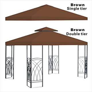 BenefitUSA BROWN Single tier Replacement 10'X10'gazebo canopy top patio pavilion cover sunshade plyester