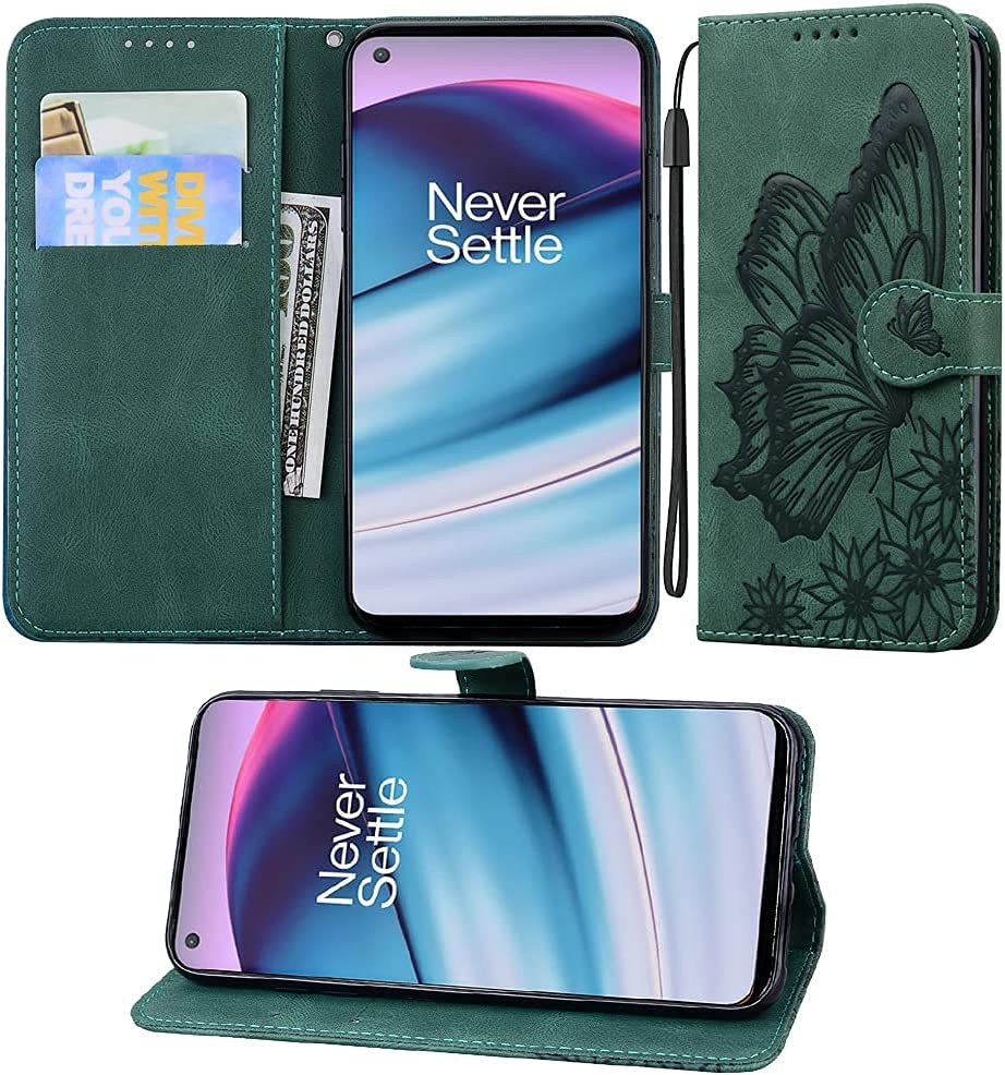 ISADENSER Compatible with OnePlus Nord N200 5G Case, Retro Butterfly Embossing Design PU Leather Wallet Folio Flip Case with Credit Slots & Stand Holder for OnePlus Nord N200 5G Butterfly Green CYB