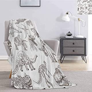 Luoiaax Jurassic Soft Throw Blanket for Bed Couch Collection of Various Dinosaurs Illustrations Skeleton Biology Historic Queen Size Blanket Soft Warm W70 x L93 Inch Dark Brown White